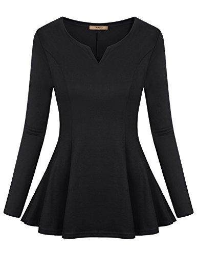 Miusey Henley Shirts for Women, Ladies Vneck Peplum Ruffle Hem Blouse Knitted Frills Extra Long Sleeve T Shirt Tunic Tops Black XX-Large (Peplum Top Knitted)