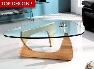 Parfait Table Basse En Verre Boomerang   Table Basse En Verre Et Bois Solide