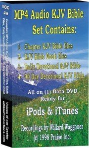 (Complete MP4 Audio Set: 1- Chapter Bible files 2- Bible Book files 3- Daily Devotional KJV Bible 4- 90 Day Devotional KJV Bible (Ready for iPod and iTunes) - 311 hours - (1) data DVD disk)