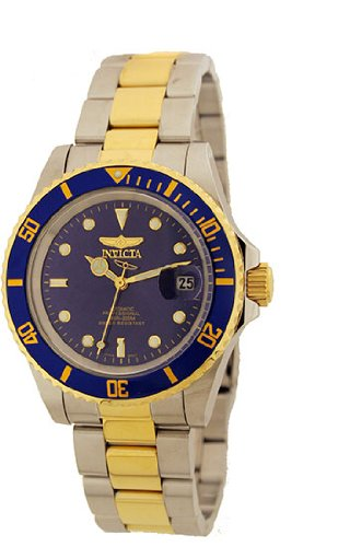 Invicta Two Tone Stainless Steel Pro Diver Blue Dial Automatic Coin-edge Bezel