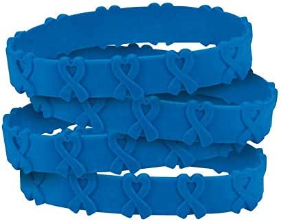 24 Blue Awareness Pop-Out Bracelets - Colon and/or Colorectal Cancer, Child Abuse, Respiratory Disease