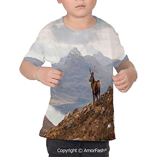 Classic Stag Folder - Deer Decor Boys and Girls All Over Print T-Shirt,Crew Neck T-Shirt,Wild Stag Ove