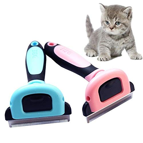 FidgetKute Pet Cat Dog Hair Deshedding Comb Grooming Brush Rakes Tool ABS Handle Welcome Pink S One Size
