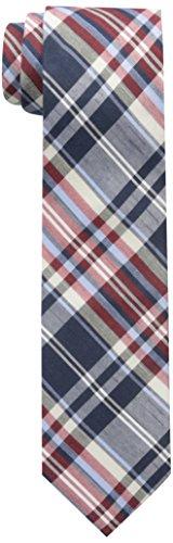 Ben Sherman Men's Burton Plaid Skinny Tie, Navy/Red, One Size