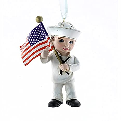 amazoncom united states navy military kid with us flag christmas ornament na2143 new usn home kitchen