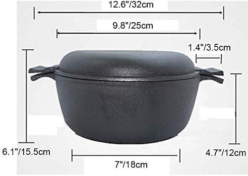 WZF Four hollandais en Fonte de 5 pintes Couvercle de poêle en dôme Polyvalent Robuste sans revêtement Poignée antiadhésive Facile à saisir pour la friture Cuisson Cuisson au Gril