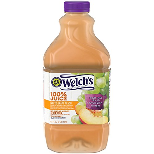 Welch's 100% Juice, White Grape Peach, No Sugar Added, 64 Ounce Bottles (Pack of 8)