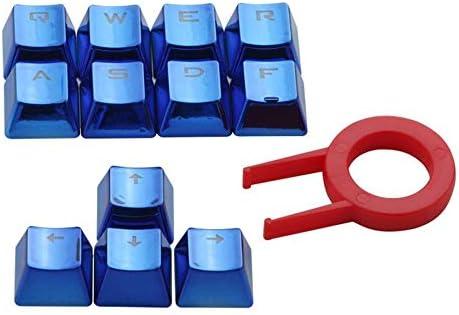 12 casquillos traslúcidos retroiluminados con extractor de teclas para teclados mecánicos Casquillos resistentes a galvanoplastia resistentes - Azul