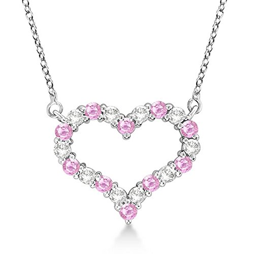Fancy Open Heart Diamond and Pink Sapphire Pendant Necklace Love Jewelry 14k White Gold (0.65ct) GH SI
