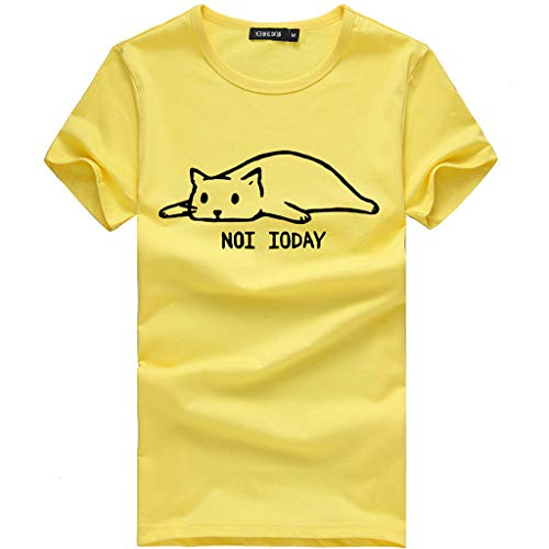 NCCIYAZ T-Shirt Tee Womens Letter Cute Cat Printed Cotton Short Sleeve Tops Ladies Slouch Blouse(L(8),Yellow) ()