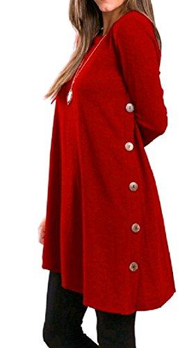 Coolred-femmes Différentes Hem Casual Week-end À Manches Longues Élégant Mini-robe Chasuble Rouge