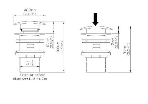 De lanwa Empuje residuos de acero inoxidable con lavabo bot/ón tapa del agujero de estancia ranurado