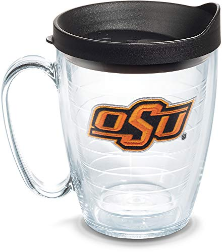 (Tervis 1064482 Oklahoma State Cowboys Athletic Logo Tumbler with Emblem and Black Lid 16oz Mug, Clear)