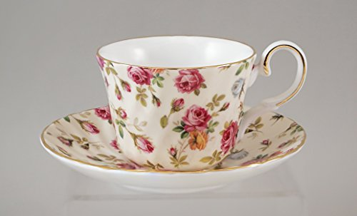 ANTIQUE ROSE CHINTZ Cup and Saucer - Fine English Bone China