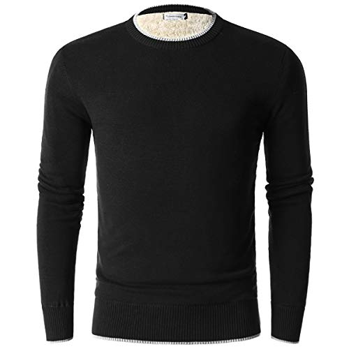 (Chain Stitch Men's Thick Fleece-Lined Pullover Crew Neck Sweater Black Large)