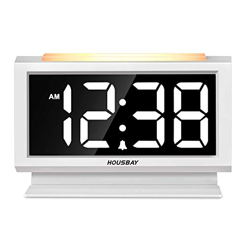 Housbay Digital Alarm Clocks for Bedrooms - Handy Night Light, Large Numbers with Display Dimmer, Dual USB Chargers, 12/24hr, Outlets Powered Compact Clock for Nightstand, Desk, Shelf (Senior Alarm Clock)