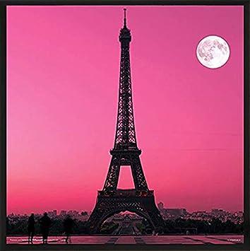 Culturenik Paris France Eiffel Tower Pink Moon Decorative City Travel Photography Print (Unframed 12x12 Poster) TTS048