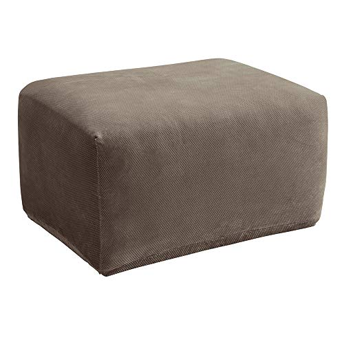 SureFit Stretch Pique Oversized Ottoman Slipcover, Taupe (Microsuede Sectionals)