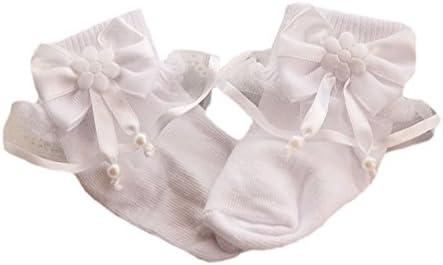 La Bortini Baby S/öckchen Shoes Socks mit R/üschen und Schleife Wei/ß festlich Taufe