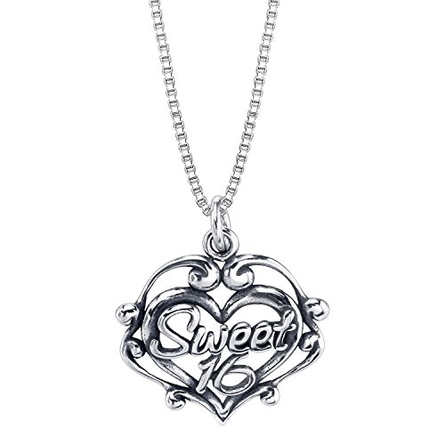 Sterling Silver Sweet 16 Filigree Heart Charm on a Sterling Silver Carded (Necklace 16 Sterling Silver Charm)