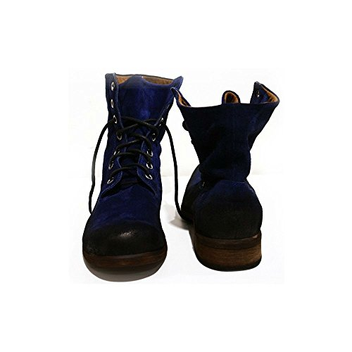 Italienisch Rindsleder Leder PeppeShoes Modello Herren Handgemachtes blau Wildleder Gambani Hohe Navy Schnüren Stiefel qrIvxIptw