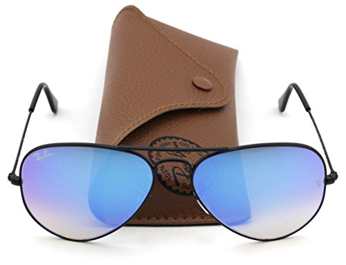Ray-Ban RB3025 Aviator Flash Lens Gradient Unisex Sunglasses (Black Frame / Blue Gradient Flash Lens 002/4O, - Blue Gradient Rb3025