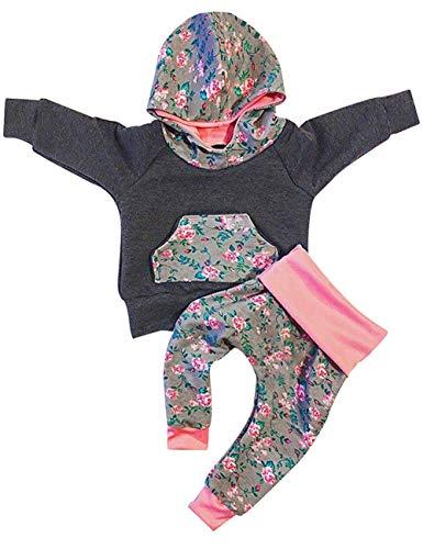 Newborn Baby Girl Boy Clothes Long Sleeve Hoodie Sweatshirt Top +Kangero Pocket +Floral Pant Outfits Set