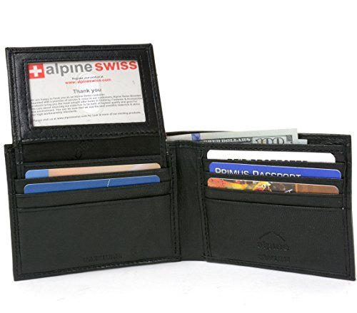 Alpine Swiss Men's Leather Bifold Wallet Removable Flip Up ID Window