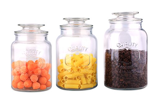 Home Basic 3 Piece Glass Canister Set
