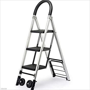 Love lamp Escaleras Plegables Escalera Plegable de Aluminio Antideslizante con Ruedas y escalones 4 escalones Escalera Resistente y Resistente Escalera portátil Ligera Negro Escaleras Telescópicas: Amazon.es: Hogar