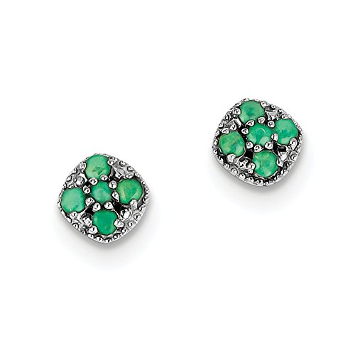 Perfect Jewelry Gift Sterling Silver Rhodium-plated Emerald Square Post Earrings