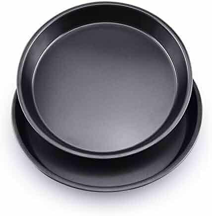 DLseego 2 Pcs Professional Non-Stick Deep Dish Pizza Pan, 8'' & 9'' Round Pizza Pan Set Cake Pan Carbon Steel Bakeware Nonstick Kitchenware Baking Pan - Rold