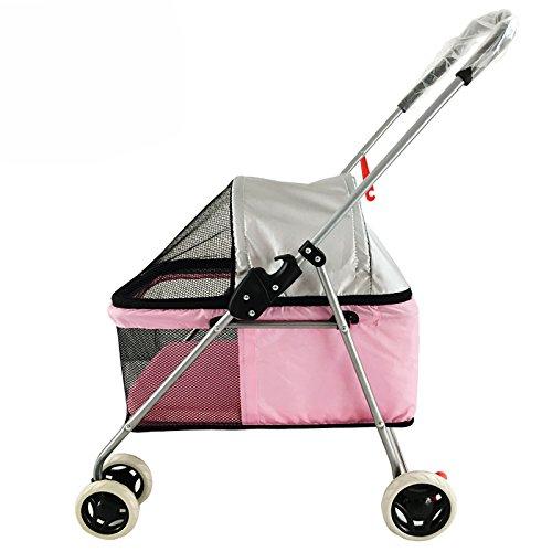 NAUY- Leichter Haustierwagen Cat und Hundwagen Push Hund kann gefaltet und demontiert Pet Car ( Farbe : Pink )
