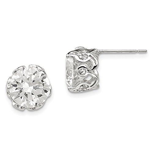 Mia Diamonds 10K Tiara Collection White Gold Polished CZ Post Earrings