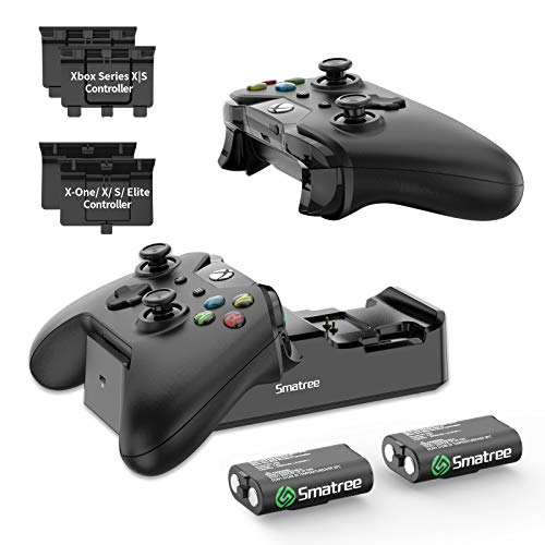 Smatree Controller Charger for Xbox Series X|S /Xbox One, Dual Charging Station Compatible with Xbox Series X|S /Xbox One/One X/One S/One Elite, Charging Docking with Rechargeable Battery 2 Pack
