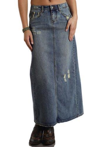 Stetson Women's Long Denim Skirt w/Back Slit, Blue 8