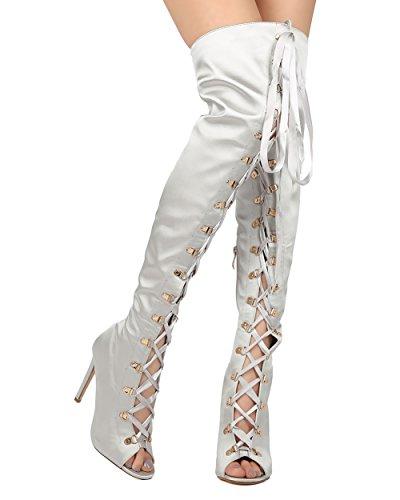CAPE ROBBIN Olga-26 Womens Satin Thigh High Peep Toe Lace Up Stiletto Boot Black Size 10 Grey