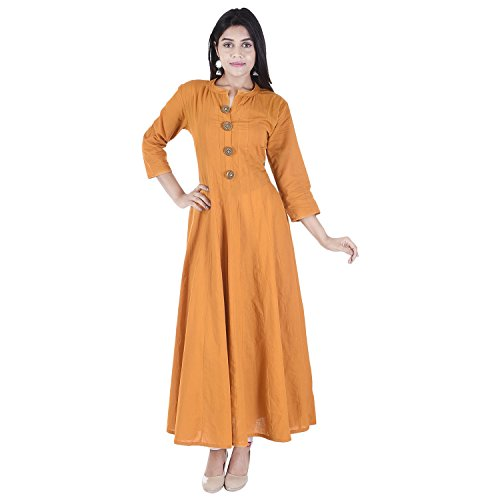 The Black Bee Black Bee Designer Latest Vaachi Cotton Kurti for Women (Yellow, XX-Large) by The Black Bee