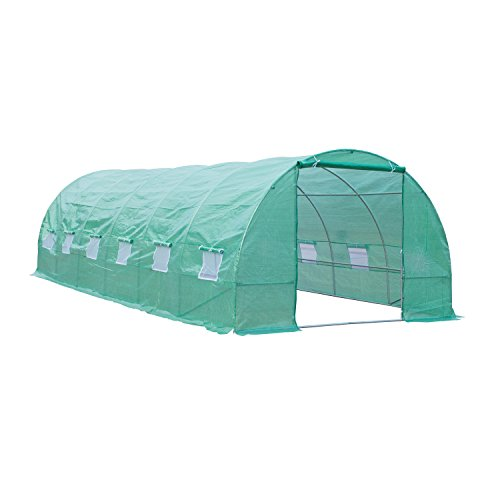 Outsunny 26′ x 10′ x 7′ Portable Walk-In Garden Greenhouse – Deep Green