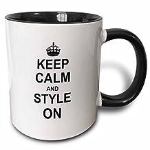 3dRose mug_157732_4 Keep Calm and Style on Carry on Styling Fashion Stylist Hairstylist Hairdresser Gift Fun Humor Two Tone Black Mug, 11 oz, Black/White