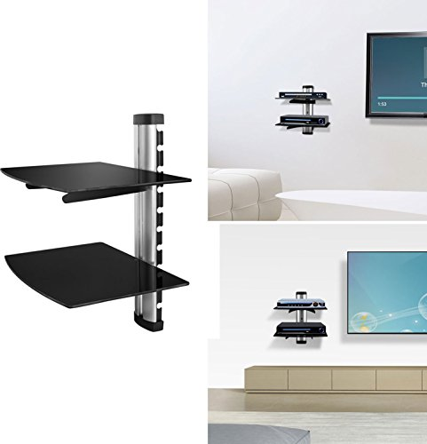 【Floating Wall Mount】GPCT Strengthened Tempered Double Glass Component Shelf Bracket Stand- DVD Player/AV Receiver/Gaming Systems-Xbox One/PS4/Xbox 360/Streaming Device/Cable Boxes/Projector- Silver (Xbox 360 Wall)