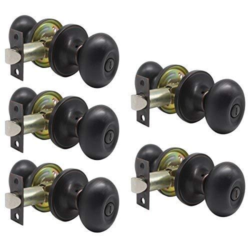 Probrico Egg Style Bedroom and Bathroom Privacy Door Knobs Oval Oil Rubbed Bronze Keyless Door Lock(5 Pack)