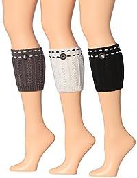 Women's 3 Pairs Knitted Leg Warmer Boot Topper Cuffs