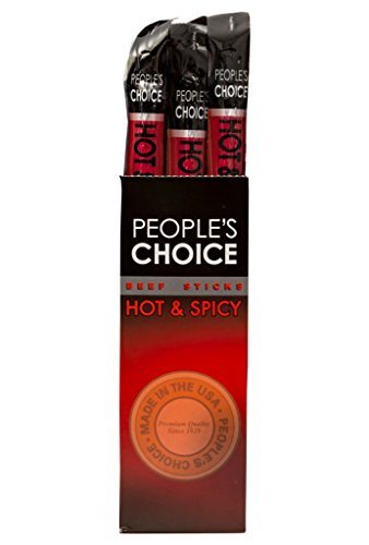 People's Choice Beef Jerky - Classic - Hot and Spicy Beef Stick - Gourmet Handmade Craft Meat Snack - 1.2 Ounce Stick (24 (American Classic Sticks)