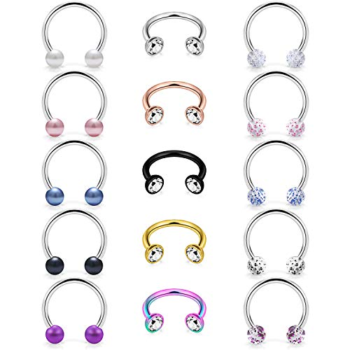 Dyknasz Septum Jewelry 16G 15PCS Surgical Steel Septum Ring Piercing Jewelry Set Clear Diamond CZ Horseshoe Barbell Earrings for Women Men 10mm (3/8 inch) Silver-Tone Rose Gold Black