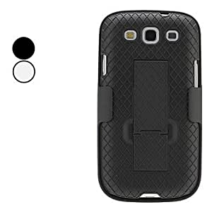 hao Grid Style Full Body Hard Case with Clip for Samsung Galaxy S3 I9300 (Assorted Colors) , Black