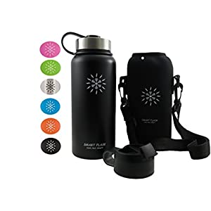 Smart Flask Stainless Steel Water Bottle, 32 Oz., Wide Mouth, Vacuum Insulated, Includes Carrying Pouch with Clip and Shoulder Strap, Leakproof Metal Lid, and Flip Top Lid, Midnight Black