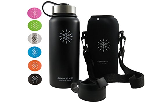 Clip Water Bottle (Smart Flask Stainless Steel Water Bottle, 32 Oz., Wide Mouth, Vacuum Insulated, Includes Carrying Pouch with Clip and Shoulder Strap, Leakproof Metal Lid, and Flip Top Lid, Midnight Black)