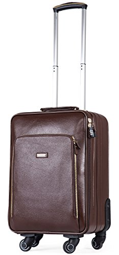 Leather Travel Suitcase Carry-on Hand Luggage Cabin Rolling Spinner Trolley (56CM / 33L, Brown) (Boyt Nylon Backpack)