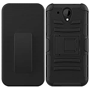 Black HyBrid Holster Beltclip Kickstand Case Hard Cover For HTC DESIRE 520 with Free Pouch